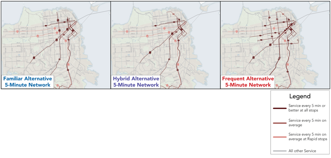 Lines indicating Service every 5 min or better at all bus stops; Service every 5 min on average