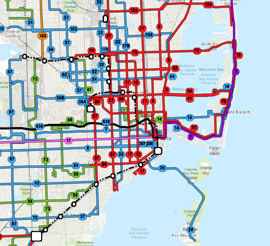 Frequency coded public transit map excerpt from the revised network centered around Miami, Florida
