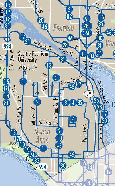 Seattle's transit network map from 2010